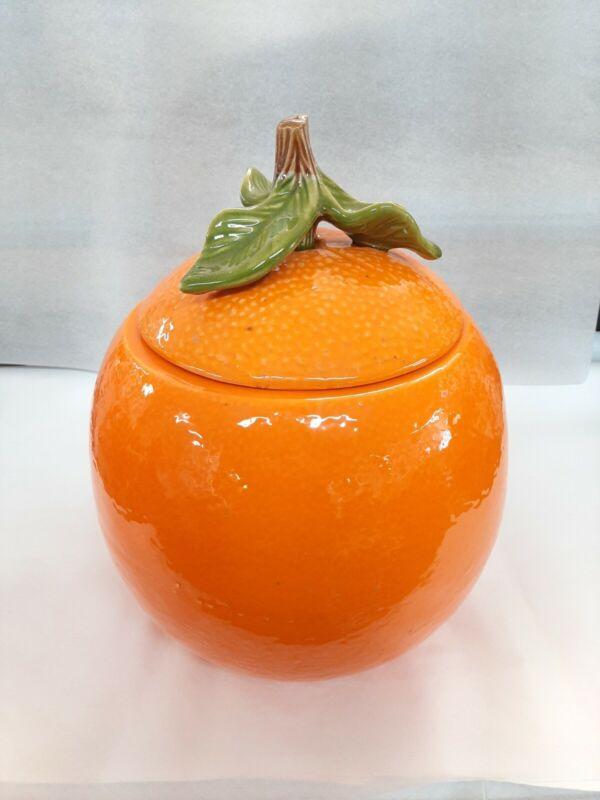 Vintage Orange Orange Fruit Cookie Jar Ceramic 1960s-70s Great Condition