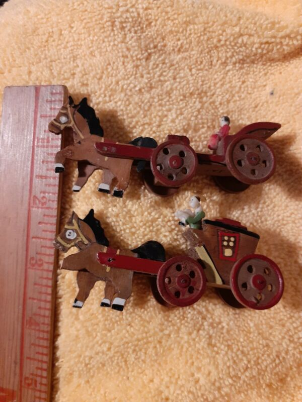 Vintage Minture Hand Carved Horse And Buggy