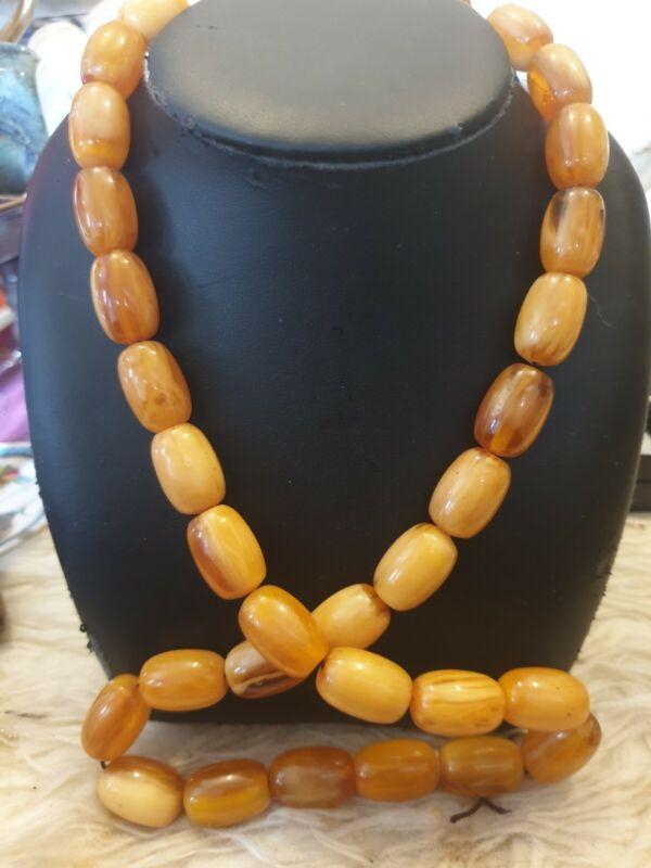Vintage  Amber Bakelite Bead Necklace - 119 Grams