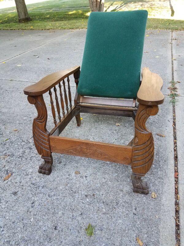 Antique Morris Chair Carved Oak Lion Face & Feet Carving ~ for Restoration