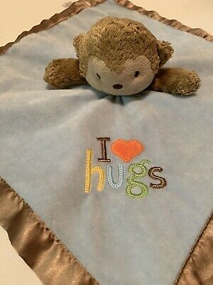 Love Hugs - Carters Just One You I Love Hugs Blue Brown Monkey Rattle Security Blanket Lovey