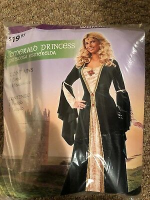 Halloween Costume Woman Emerald Princess Medium 8-10 New (Emerald Costume)