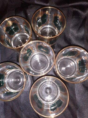 Culver Midcentry Modern Teal Gold Glasses Set of Six