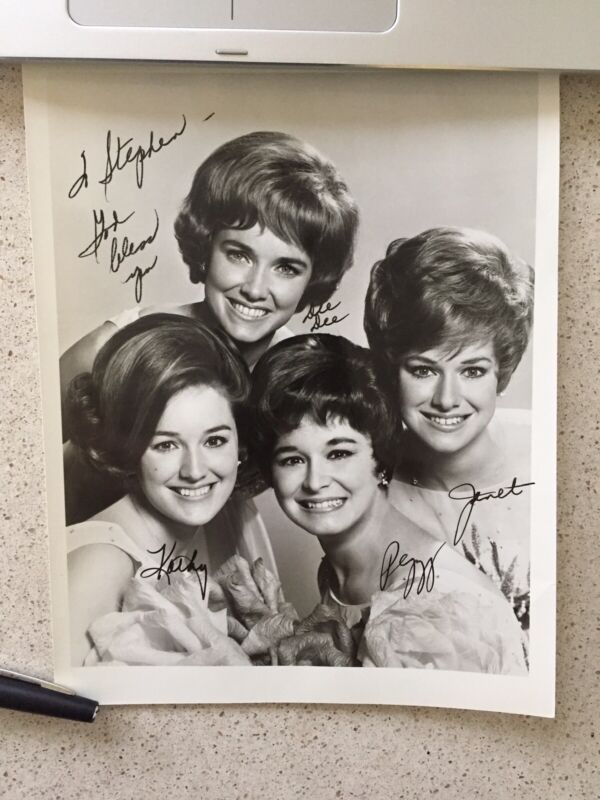 "The Lennon Sisters Signed Inscribed 9""X7"" Photo  B&W Kathy Janet  Peggy  Dee Dee"