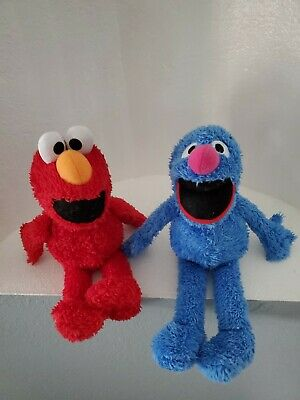 Kohls Cares Sesame Street Grover Blue & Elmo Red Plush Soft Stuffed Doll Toy 13""