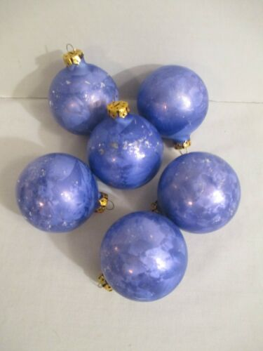 Lot of 6 Vintage Lavender Blue Christmas Ornaments Round Balls