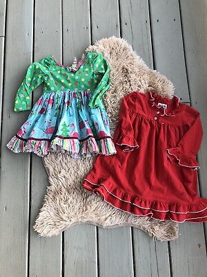 Girls boutique dressy dresses Lot of 2 Size 2T Holiday Christmas Party