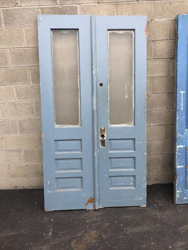 Cem 725 Pair Antique Double Doors 46 X 83.5 X 2 Chicken wire glass