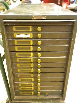 Acme Drawer Metal Industrial Card Photo File Cabinet Post Card Military Key