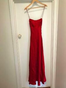 Red Silk Stellini Dress - Size 8 - Formal, full length, low back