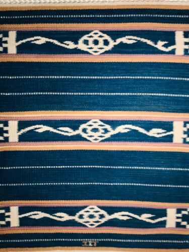 2 - OUTSTANDING VINTAGE NEW MEXICAN/MEXICAN HANDWOVEN WOOL THROW WITH INDIGO