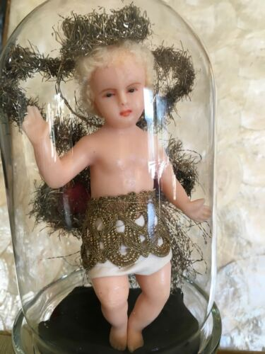 ANTIQUE WAX ANGEL WITH HAIR & METALLIC THREAD ADORNMENT GLASS DOME XMAS ORNAMENT