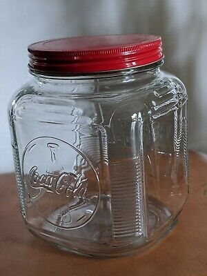 Coca Cola Glass Cookie Jar Canister Anchor Hocking Hoosier Vintage Reproduction