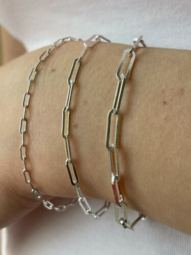 """Real Solid Sterling Silver Paperclip Rolo Paper Clip Bracelet 2.5mm-4mm 6-8"""""""