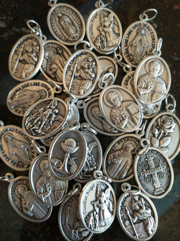 Catholic Silver Plated Various Medals Lot of 25, Italy, Saints Mary Religious