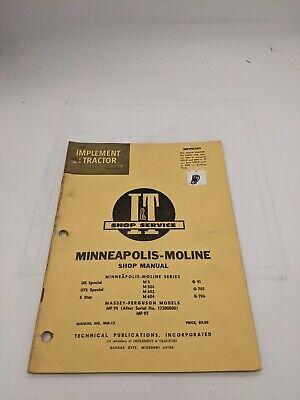 I T Tractor Shop Service Repair Manual Minneapolis Moline Ub Uts M5 5 Star 602