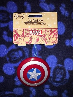 Disney Store MARVEL 2016 Sketchbook Ornament Captain America Shield NEW LOOK