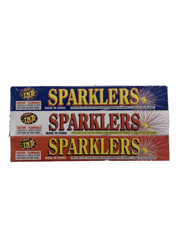 New Lot of 30 Red,White,Blue TNT Sparklers,#8 Gold,Celebrations,July 4th,Parties