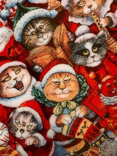 """Cat Art Plate """"Santa Claws"""" Bill Bell 24k Gold Trim 8"""" Franklin Mint"""