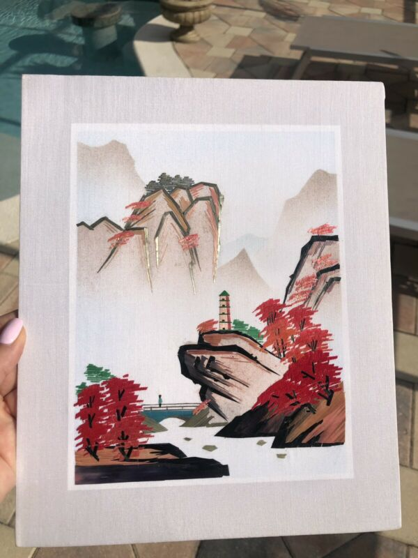 Vintage Chinese Asian Oriental Straw Grass Art Picture Landscape 11x9