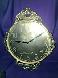 Vintage Stetson Cast Iron Accented/Metal~Pewter Color Wall Clock~Convex Glass