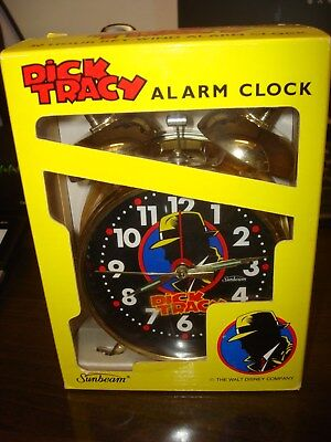 Vintage Dick Tracy Alarm Clock by Sunbeam 1990~NEW IN THE BOX