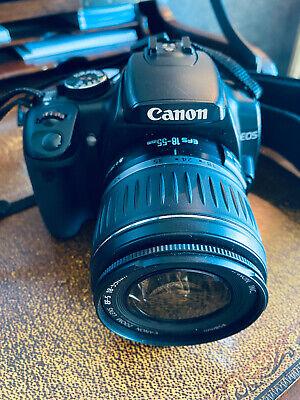 """Canon EOS Digital Rebel XTi SLR Camera - Black w 18-55"""" LENS, wide angle & case"""