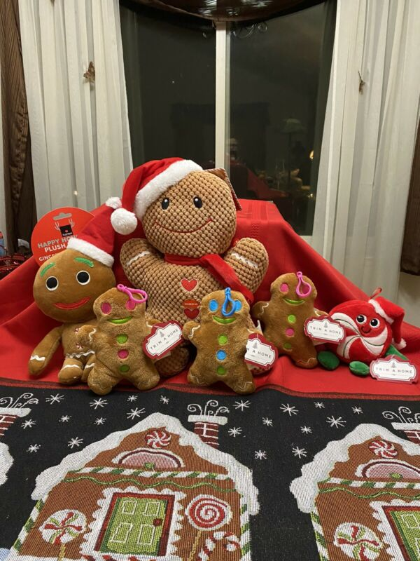 """Lot 6 Gingerbread Man Plush Family 15"""" Tall  & Smaller   Cookies NWT"""