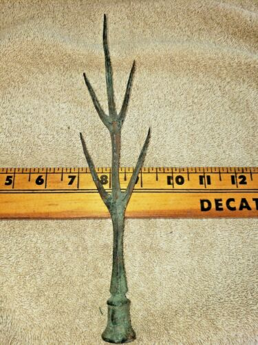 Early Antique Copper Lightning Rod Finial Top Five Point Twig Rare
