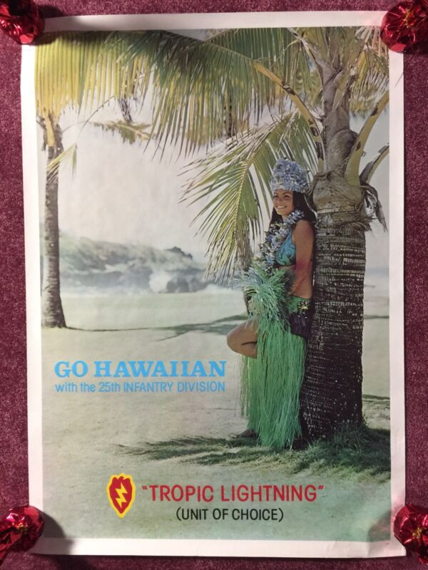 Vietnam Recruiting Hawaii Poster 1970s 25th Infantry Division Tropic Lightning