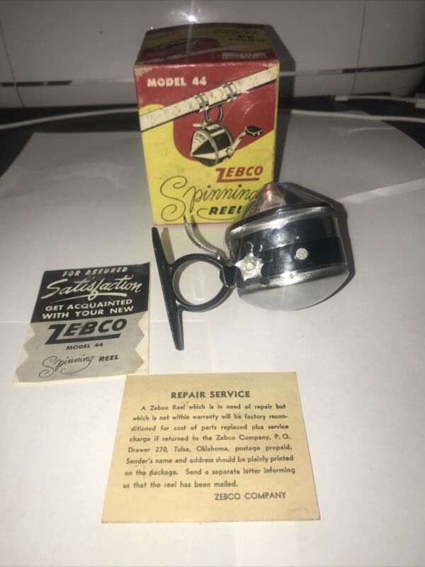 Vintage Zebco 44 Spinning Reel with Box & Paper