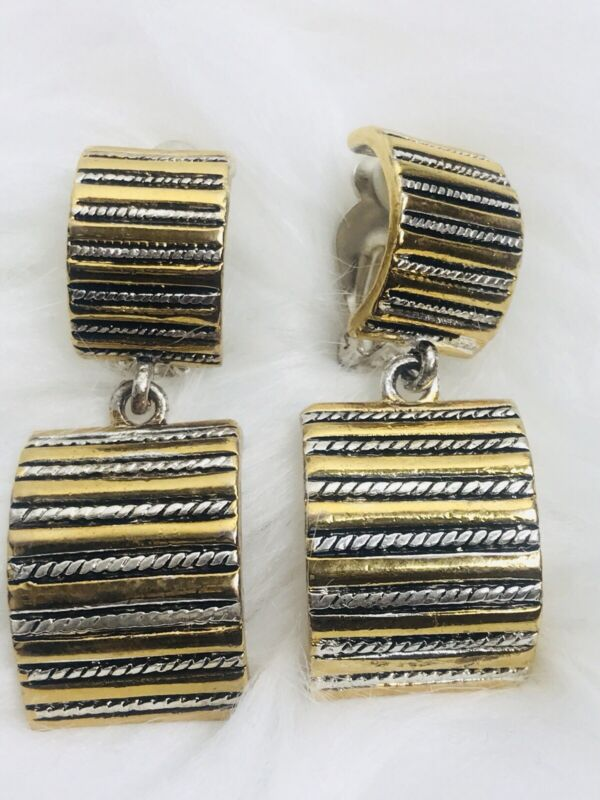 VINTAGE Silver / Gold Tone GEOMETRIC Rectangular Curved CLIP Earrings Ear Rings