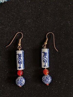 Vintage Blue white China Porcelain Drop Dangle Ball Earrings Crane