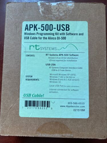 RT Systems APK-500-USB programming software & cable for Alinco DJ-500
