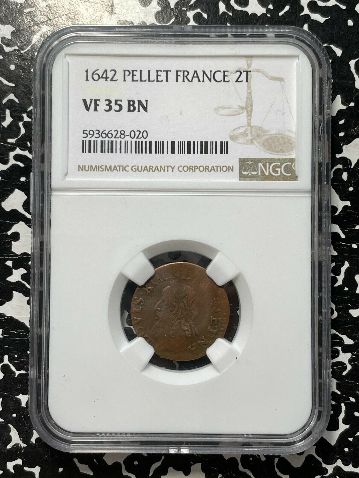 1642 Pellet France Double Tournois NGC VF35 Lot G882 Nice Circulated Example  - $75.00