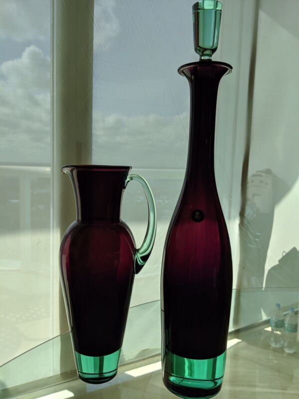 Royal Copenhagen Purple Crystal Pitcher And Decanter