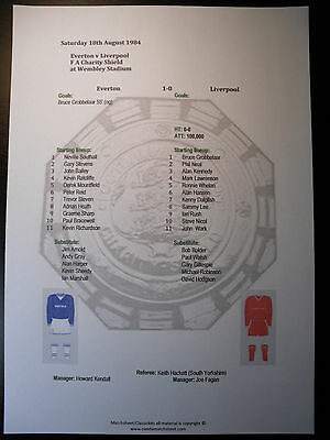 1984 FA Charity Shield Everton v Liverpool Matchsheet