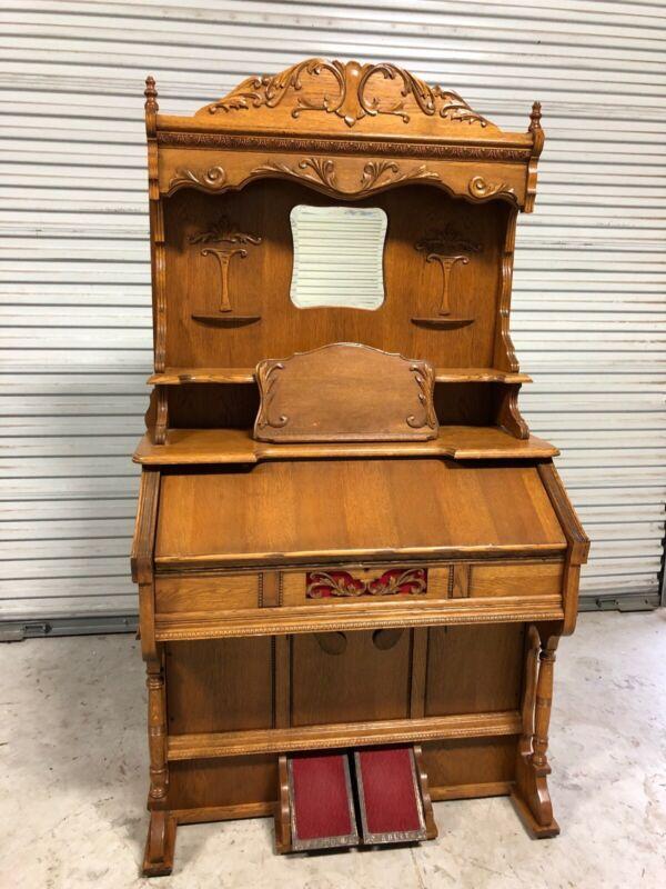 Beautiful Antique Adler Pump Organ Elaborate High Back Walnut FREE SHIPPING