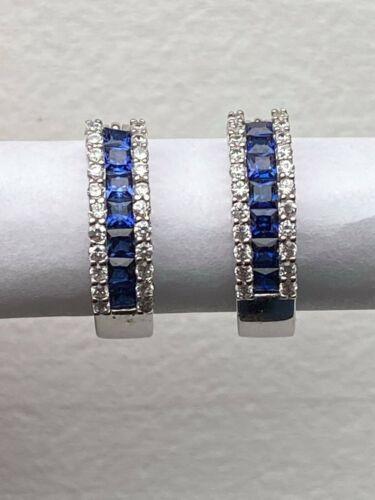 Undetermined Brand 925 Sterling Hoop Pierced Earrings Dark Blue White CZ