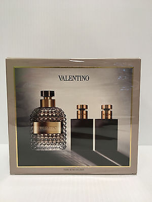VALENTINO UOMO MEN 3PC GIFT SET COLOGNE SPRAY 3.4 + A/SHAVE + GEL 1.7 OZ SEALED for sale  Irving