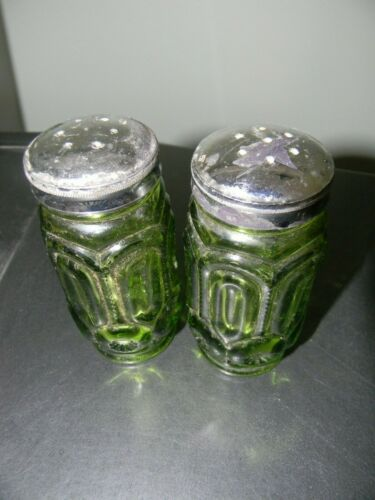 Antique Dark Green Glass Salt & Pepper Shakers
