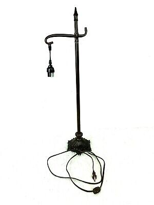 Metal Table Lamp Hanging Bulb Dark Brown Ornate Base Switch on Cord