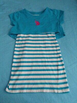 U.S. POLO ASSN. Girls Toddler Striped Dress Blue White, Sz 4T