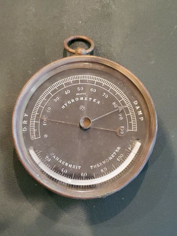 Rare Antique Paul Naudet Brass Hygrometer Fahrenheit Thermometer France HPBN