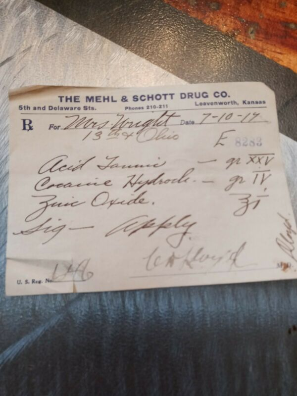 Cocaine antique prescription see pics small tear