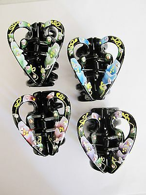 Black heart floral flower painted hair claw clip made with swarovski crystals