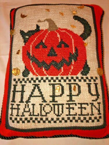 HAND STITCHED HAPPY HALLOWEEN PILLOW, JACK O LANTERN / CAT, EMBELLISHED, OOAK