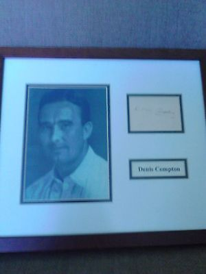 Denis Compton signed framed presentation