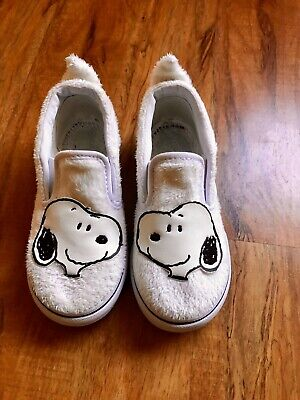 Vans Classic Slip On Peanuts Snoopy Toddler 10 White Skate Shoes New Sneakers