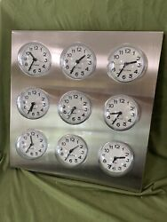 Bubble World Time Clock 9 International City Time Zone Stainless Steel
